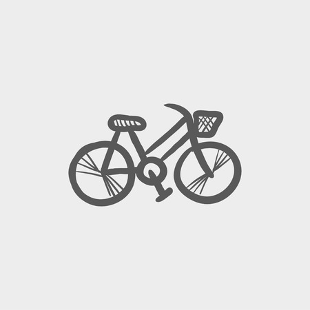 vector cartoons: Bicycle sketch icon for web and mobile. Hand drawn vector dark grey icon on light grey background. Illustration