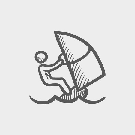 wind surfing: Wind surfing sketch icon for web and mobile. Hand drawn vector dark grey icon on light grey background.