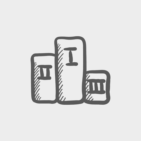 anthem: Winners podium sketch icon for web and mobile. Hand drawn vector dark grey icon on light grey background.