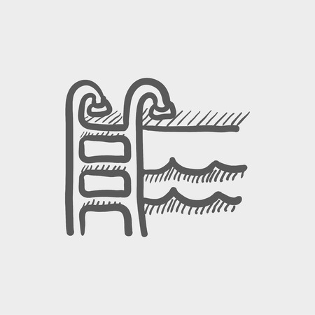 handrail: Swimming pool ladder sketch icon for web and mobile. Hand drawn vector dark grey icon on light grey background.