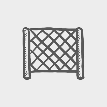 hockey goal: Ice hockey goal net sketch icon for web and mobile. Hand drawn vector dark grey icon on light grey background.