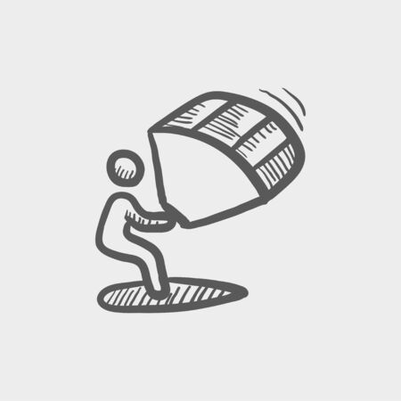 kite surfing: Kite surfing sketch icon for web and mobile. Hand drawn vector dark grey icon on light grey background.
