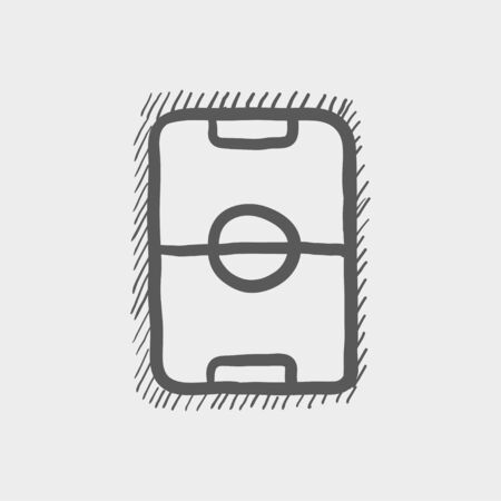 ruling: Soccer field sketch icon for web and mobile. Hand drawn vector dark grey icon on light grey background.