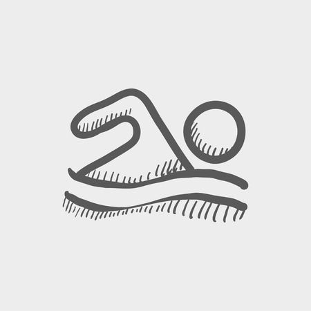Beach wave swimming sketch icon for web and mobile. Hand drawn vector dark grey icon on light grey background.