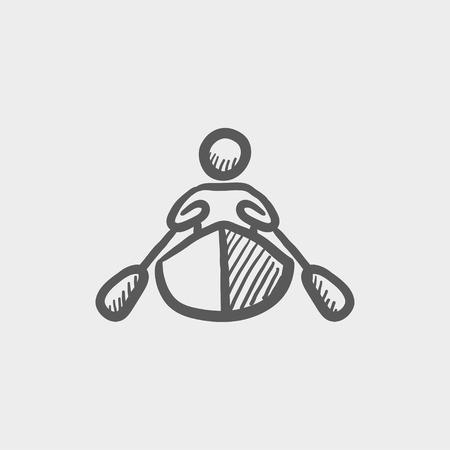남자 카약 스케치 아이콘 웹 및 모바일에 대 한 아이콘을 하 고. 빛 회색 배경에 손으로 그려진 된 벡터 어두운 회색 아이콘.