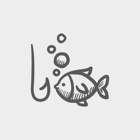 fishhook: Fish with hook sketch icon for web and mobile. Hand drawn vector dark grey icon on light grey background.