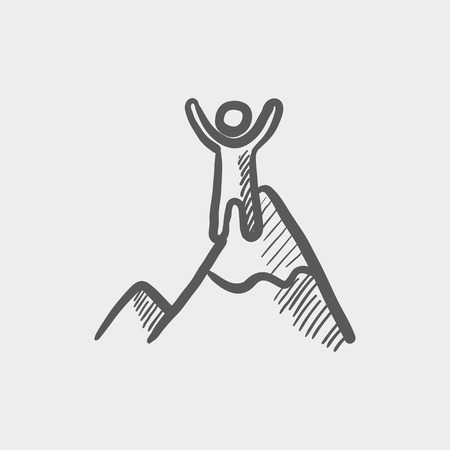 Skiing in ice mountain sketch icon for web and mobile. Hand drawn vector dark grey icon on light grey background.