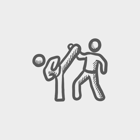 Karate fighters sketch icon for web and mobile. Hand drawn vector dark grey icon on light grey background.