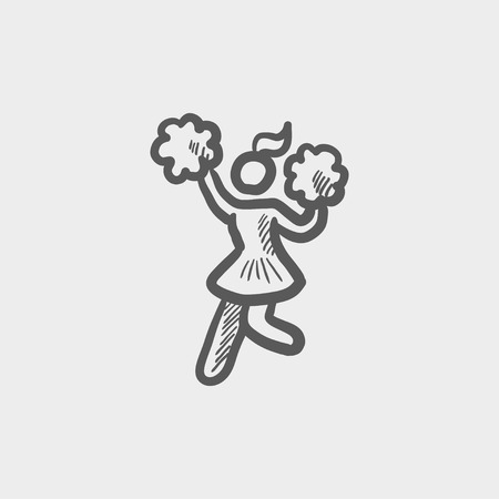 cheerleading squad: Cheerleader with pom sketch icon for web and mobile. Hand drawn vector dark grey icon on light grey background. Illustration