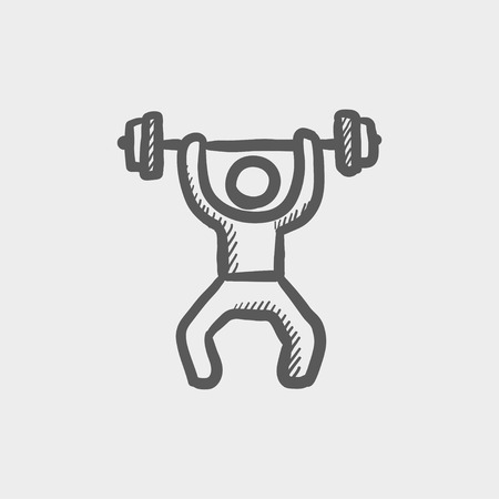 Weightlifter man with barbell sketch icon for web and mobile. Hand drawn vector dark grey icon on light grey background.