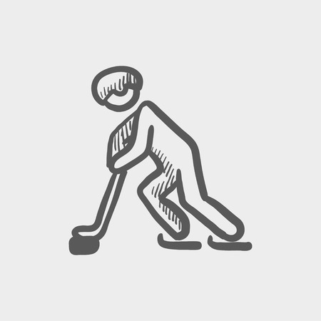 Hockey player pushing the puck sketch icon for web and mobile. Hand drawn vector dark grey icon on light grey background.