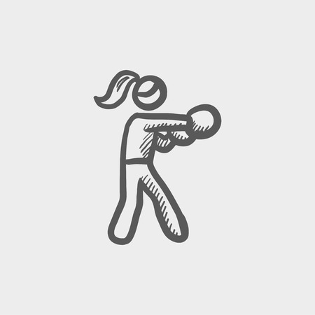 physically: Female boxer sketch icon for web and mobile. Hand drawn vector dark grey icon on light grey background.