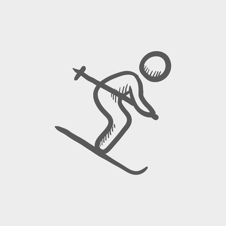downhill skiing: Downhill skiing sketch icon for web and mobile. Hand drawn vector dark grey icon on light grey background. Illustration