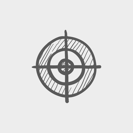 Crosshair target sketch icon for web and mobile. Hand drawn vector dark grey icon on light grey background. 矢量图像
