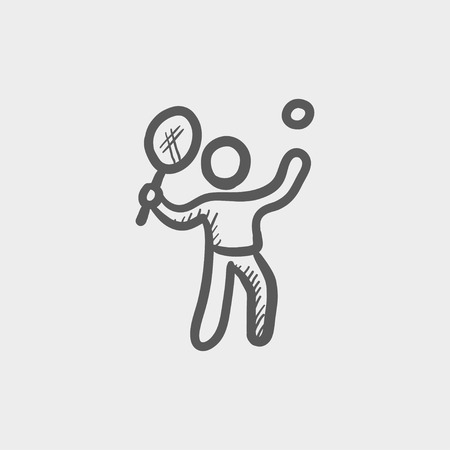 striker: Tennis player in serving position sketch icon for web and mobile. Hand drawn vector dark grey icon on light grey background. Illustration
