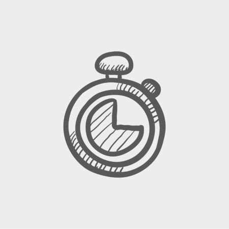 Stopwatch sketch icon for web and mobile. Hand drawn vector dark grey icon on light grey background.