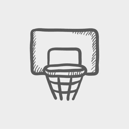 Basketbalring schets pictogram voor web en mobiel. Hand getrokken vector donkergrijs pictogram op lichtgrijze achtergrond. Stock Illustratie