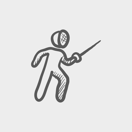 Fencing sport sketch icon for web and mobile. Hand drawn vector dark grey icon on light grey background.