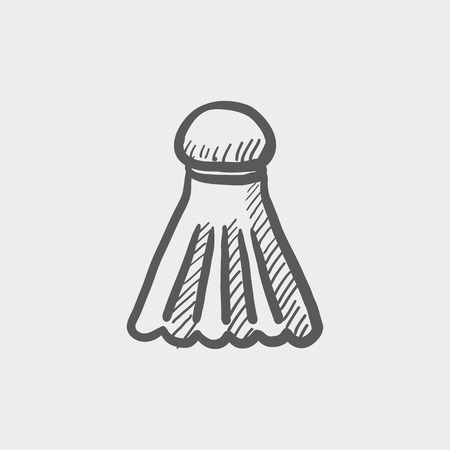 badminton racket: Badminton shuttlecock sketch icon for web and mobile. Hand drawn vector dark grey icon on light grey background.