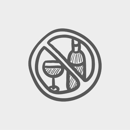 spirituous beverages: No alcohol sign sketch icon for web and mobile. Hand drawn vector dark grey icon on light grey background. Illustration