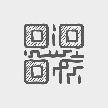 quick response: QR code sketch icon for web and mobile. Hand drawn vector dark grey icon on light grey background.