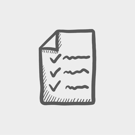 filling folder: Checklist sketch icon for web and mobile. Hand drawn vector dark grey icon on light grey background.