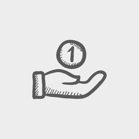 money hand: Hand and one coin sketch icon for web and mobile. Hand drawn vector dark grey icon on light grey background.