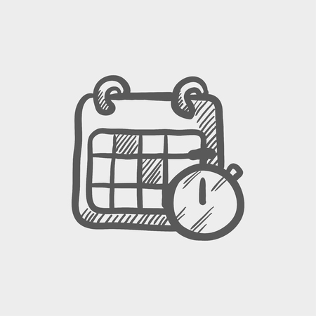 business event: Calendar and stopwatch sketch icon for web and mobile. Hand drawn vector dark grey icon on light grey background. Illustration