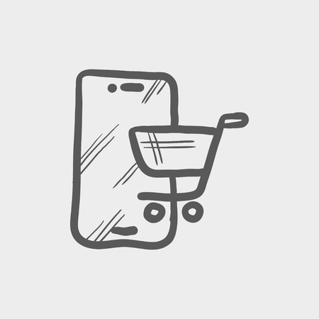 machine operator: Shopping cart signboard sketch icon for web and mobile. Hand drawn vector dark grey icon on light grey background. Illustration