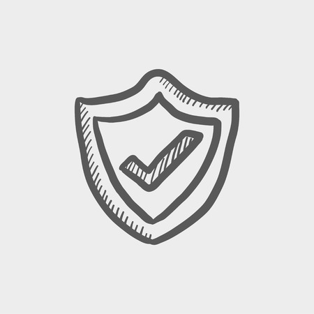 confirmed: Best seller guaranteed badge sketch icon for web and mobile. Hand drawn vector dark grey icon on light grey background.