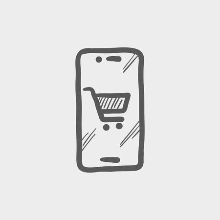 shopping cart icon: Signboard of shopping cart sketch icon for web and mobile. Hand drawn vector dark grey icon on light grey background.