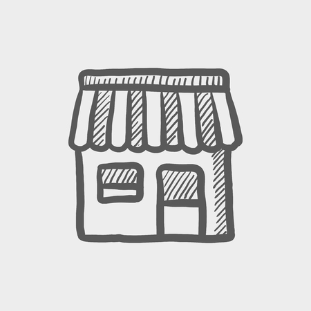 Store stall sketch icon for web and mobile. Hand drawn vector dark grey icon on light grey background. Illustration