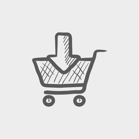 Online winkelwagentje schets pictogram voor web en mobiel. Hand getrokken vector donkergrijs pictogram op lichtgrijze achtergrond.