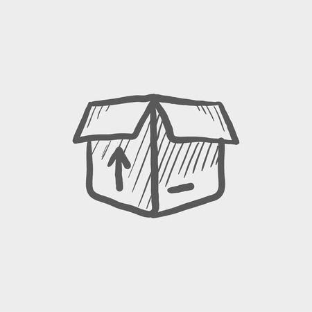 unpacking: Open box with arrow loading, incoming sketch icon for web and mobile. Hand drawn vector dark grey icon on light grey background.