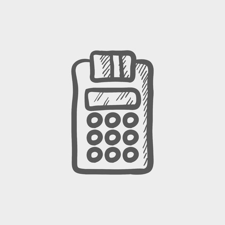 cashless payment: Electronic calculaor with paper roll sketch icon for web and mobile. Hand drawn vector dark grey icon on light grey background. Illustration