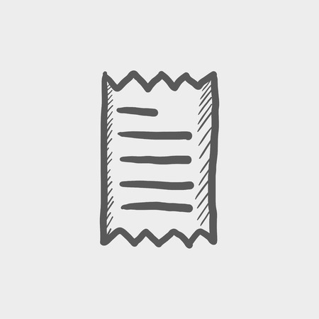 Receipt sketch icon for web and mobile. Hand drawn vector dark grey icon on light grey background.