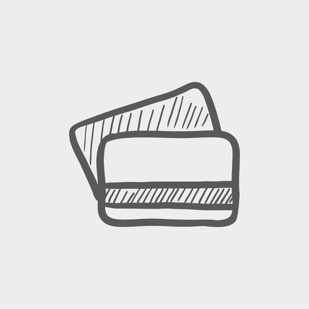 mobile banking: Credit card sketch icon for web and mobile. Hand drawn vector dark grey icon on light grey background. Illustration