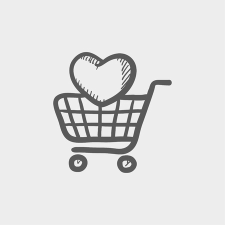 Shopping cart with heart sketch icon for web and mobile. Hand drawn vector dark grey icon on light grey background. Illusztráció