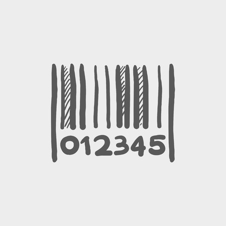 Barcode sketch icon for web and mobile. Hand drawn vector dark grey icon on light grey background. Illustration