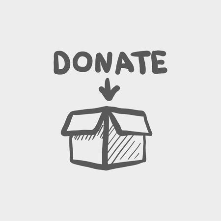 Donatie box schets pictogram voor web en mobiel. Hand getrokken vector donkergrijs pictogram op lichtgrijze achtergrond.