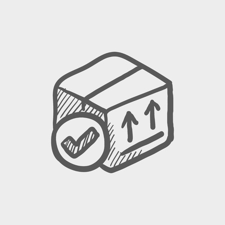 validation: Box with validation mark sketch icon for web and mobile. Hand drawn vector dark grey icon on light grey background.