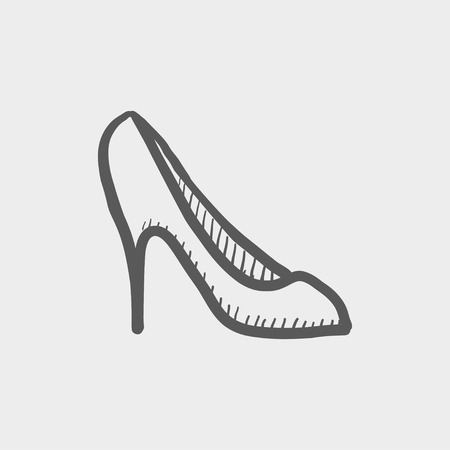 stilleto: Lady high heel shoe sketch icon for web and mobile. Hand drawn vector dark grey icon on light grey background. Illustration