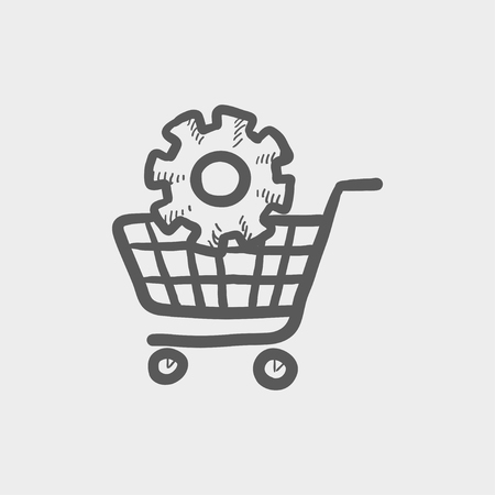 Shopping cart with gear sketch icon for web and mobile. Hand drawn vector dark grey icon on light grey background.