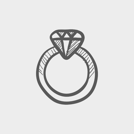 brilliancy: Diamond ring sketch icon for web and mobile. Hand drawn vector dark grey icon on light grey background. Illustration