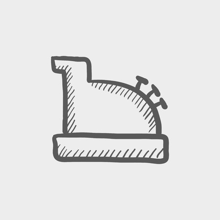 Antique cash register sketch icon for web and mobile. Hand drawn vector dark grey icon on light grey background.