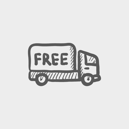 grey: Free delivery van sketch icon for web and mobile. Hand drawn vector dark grey icon on light grey background. Illustration