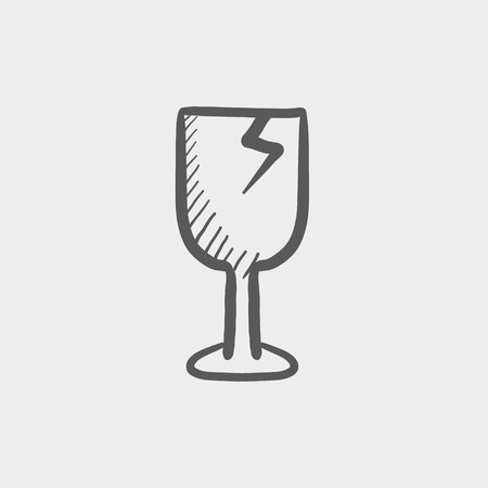 Broken glass wine, fragile sketch icon for web and mobile. Hand drawn vector dark grey icon on light grey background.