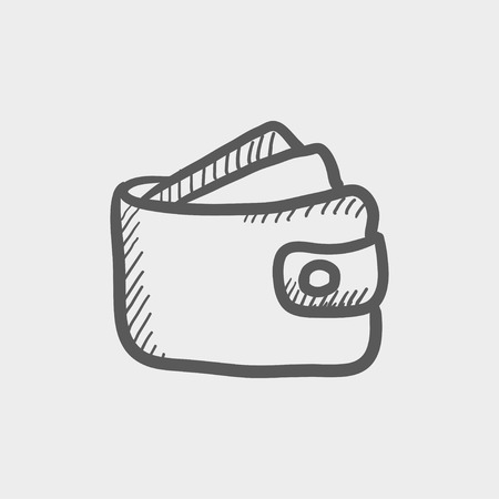 valid: Wallet with monoey and credit card sketch icon for web and mobile. Hand drawn vector dark grey icon on light grey background.