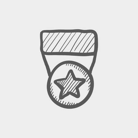 heroism: One star medal sketch icon for web and mobile. Hand drawn vector dark grey icon on light grey background. Illustration