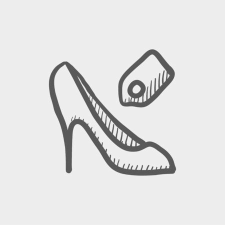 priceless: Shoe with tag sketch icon for web and mobile. Hand drawn vector dark grey icon on light grey background. Illustration